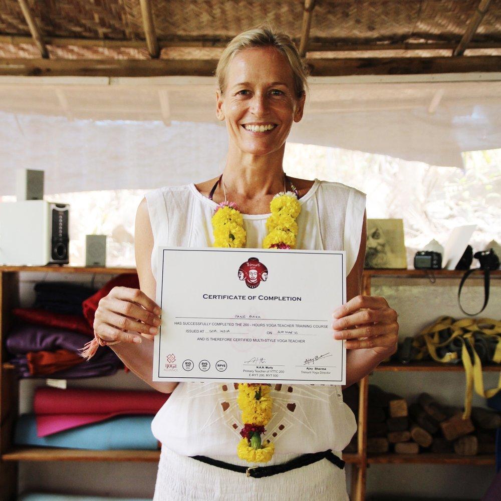200RYT graduation, Trimurti Yoga, Goa