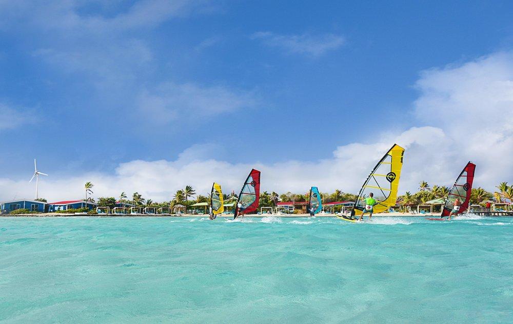 Windsurfing with Goya Equipment in front of Sorobon Beach Resort