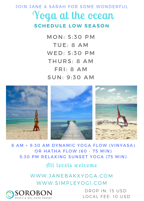 Sorobon yoga schedule LOW SEASON