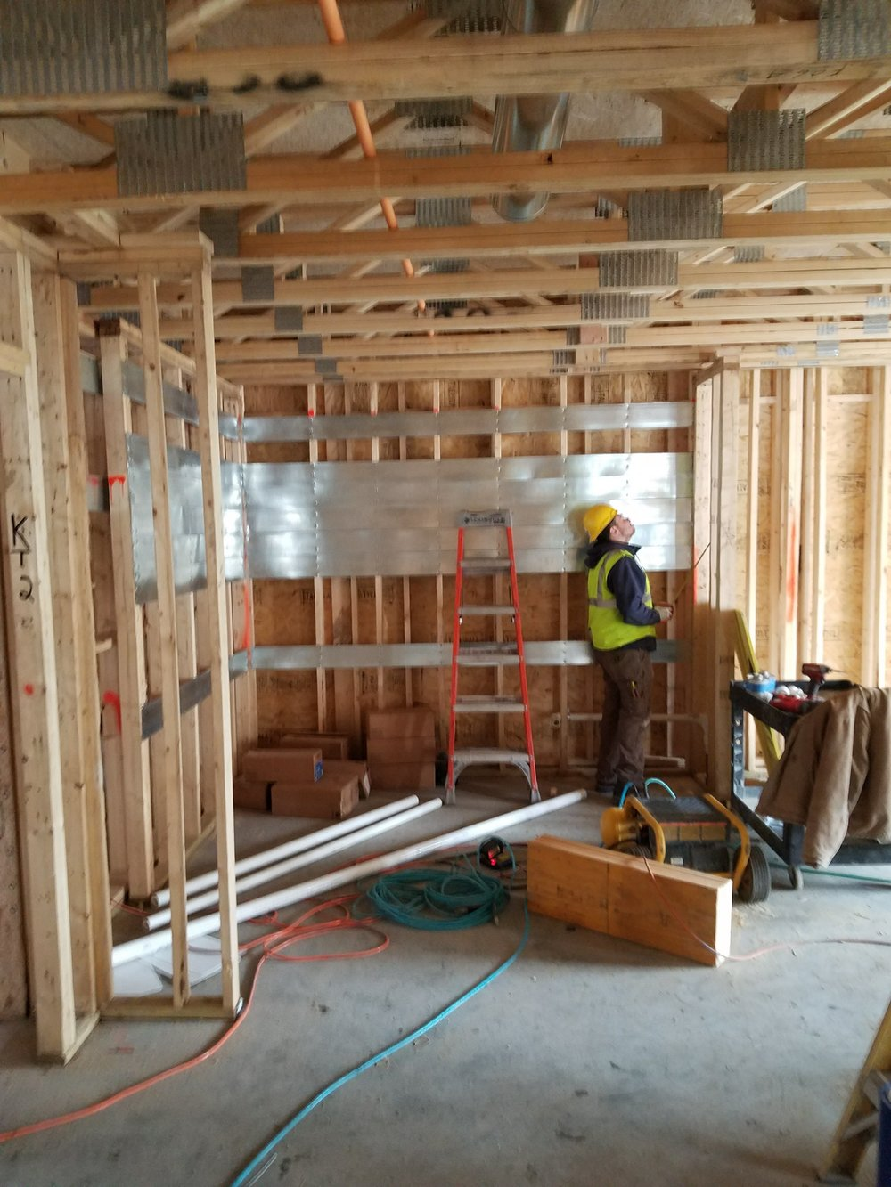 Kitchen framing and blocking along with rough plumbing installation