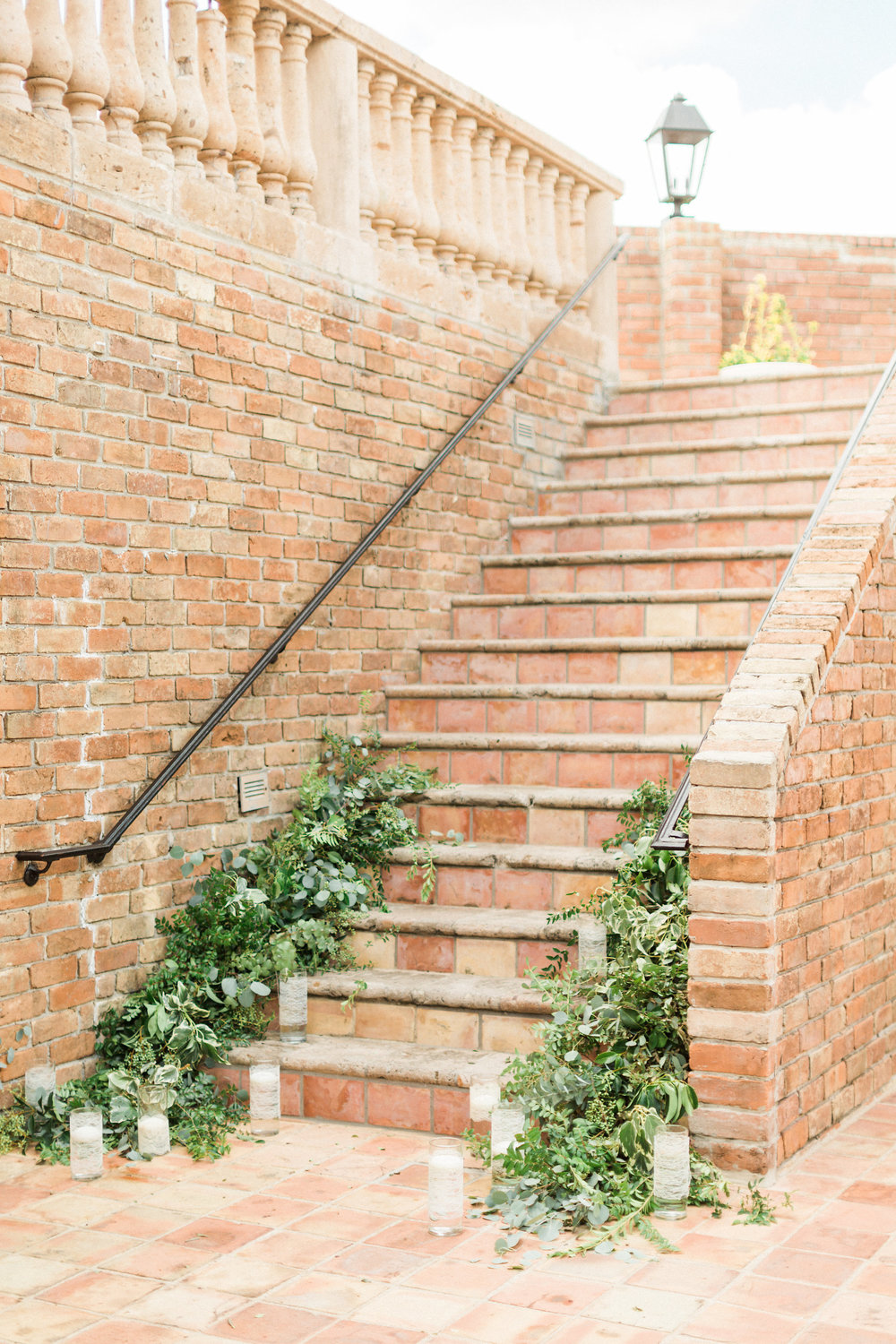 stair+greenery+garland+draping+at+the+gallery+houston+texas