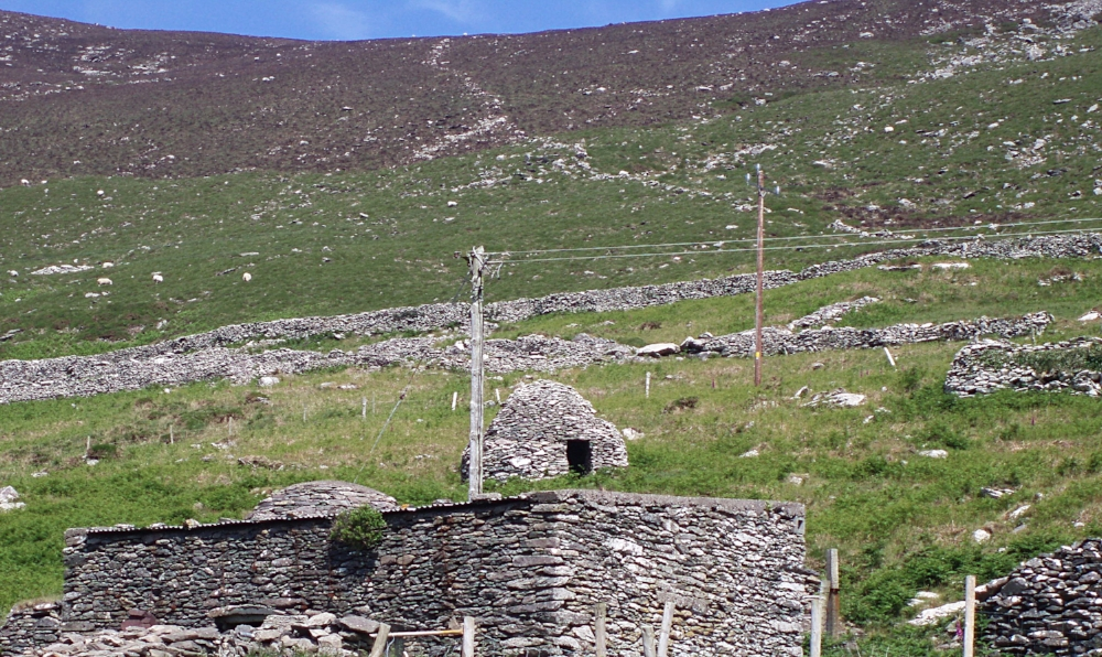 Beehive huts along the road. On the hillside the line between brown and green is a scar left by the potato famine over a hundred years ago.