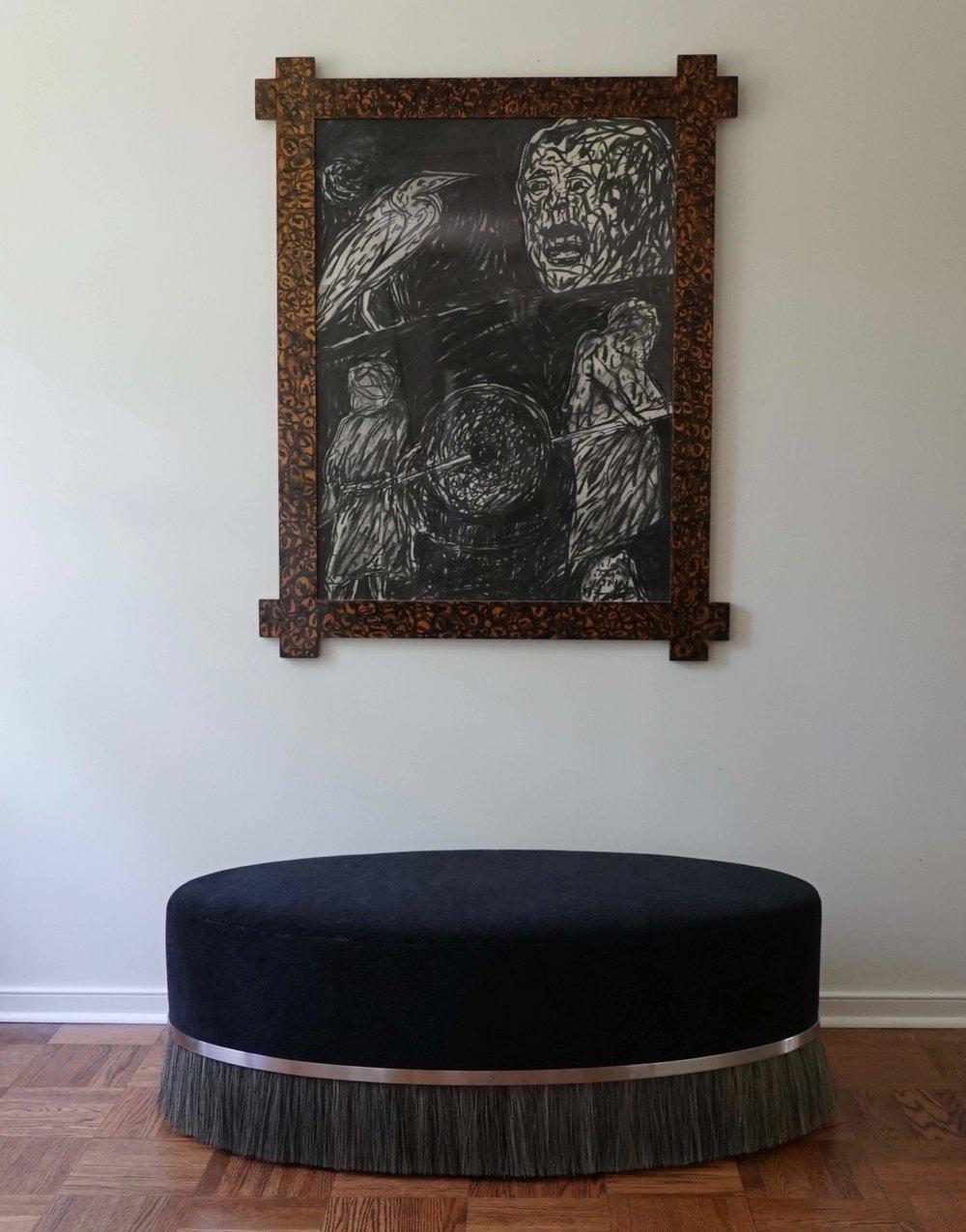 *custom oval ottoman