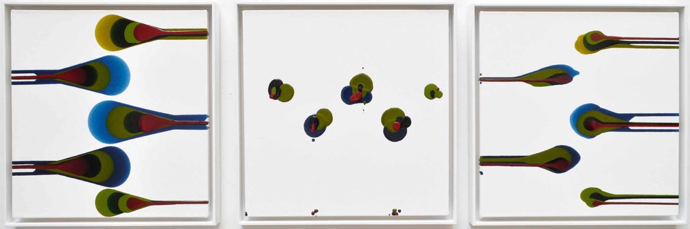 HERA, 2018  Acrylic on canvas in white wooden tray frames 50cm x 150cm x 4cm