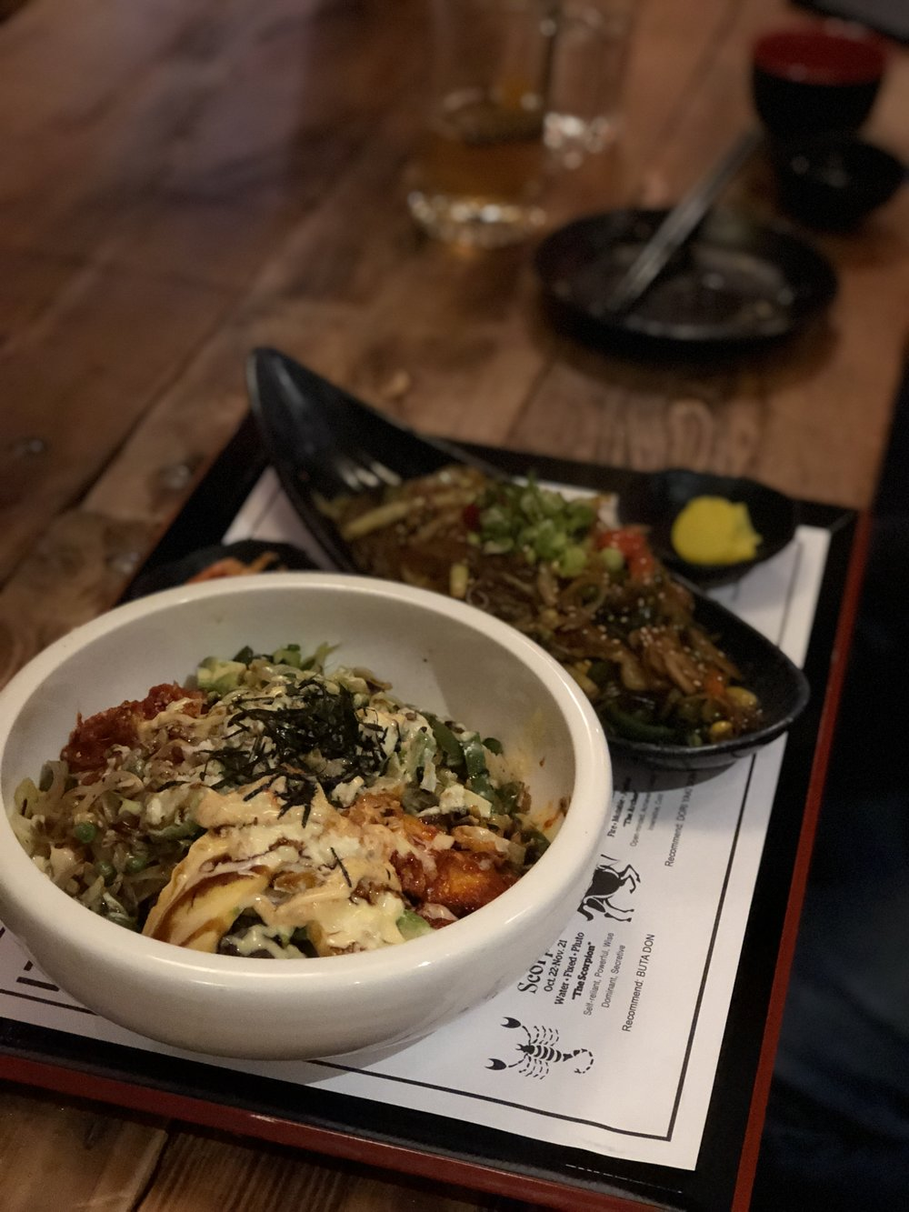 "What the $!*% is DonburI?? - Donburi, which literally means ""bowl"", is a traditional Japanese meal consisting of a bowl of rice with some topping such as chicken, fish, meat, vegetables and a whole bunch of other possible additions"