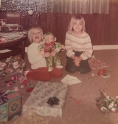 My older sister, Natalie, and me with my green monkey!