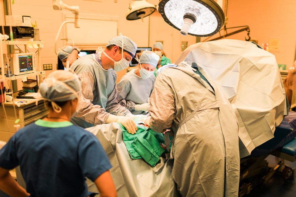 Dr. Troy Herthel, DVM, Dip. ACVS-LA (left) and Dr. Carter Judy, DVM, Dip. ACVS (right) operate on a patient in Alamo Pintado Equine's fully equipped operating room.