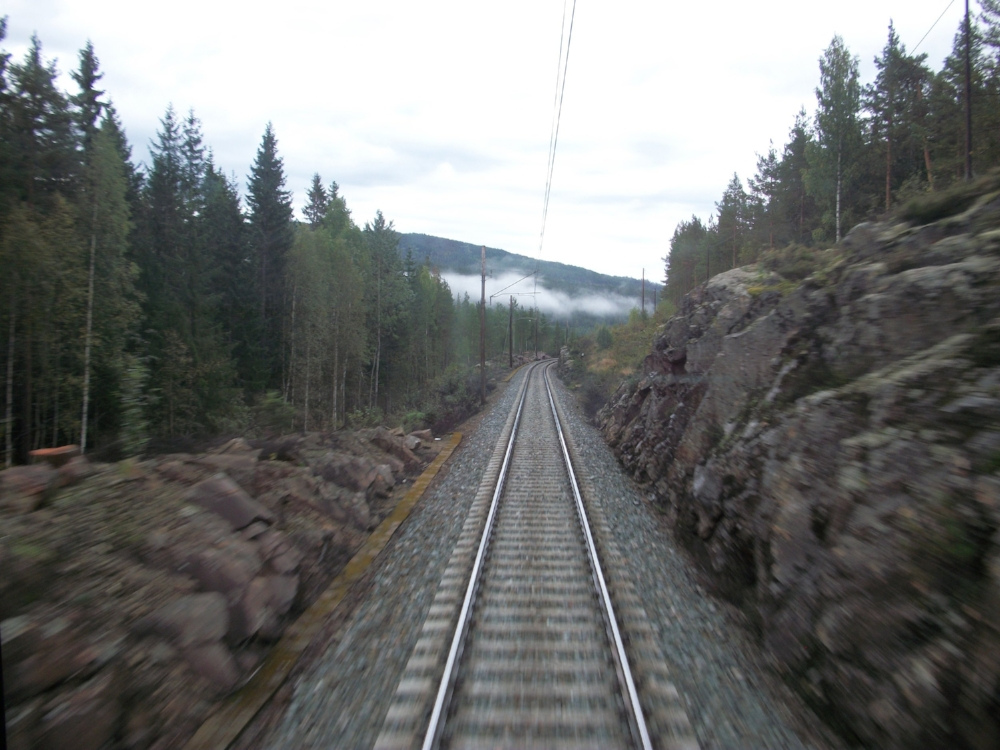 On a train in Norway. One of my favorite memories―trains are definitely one of my splurges!