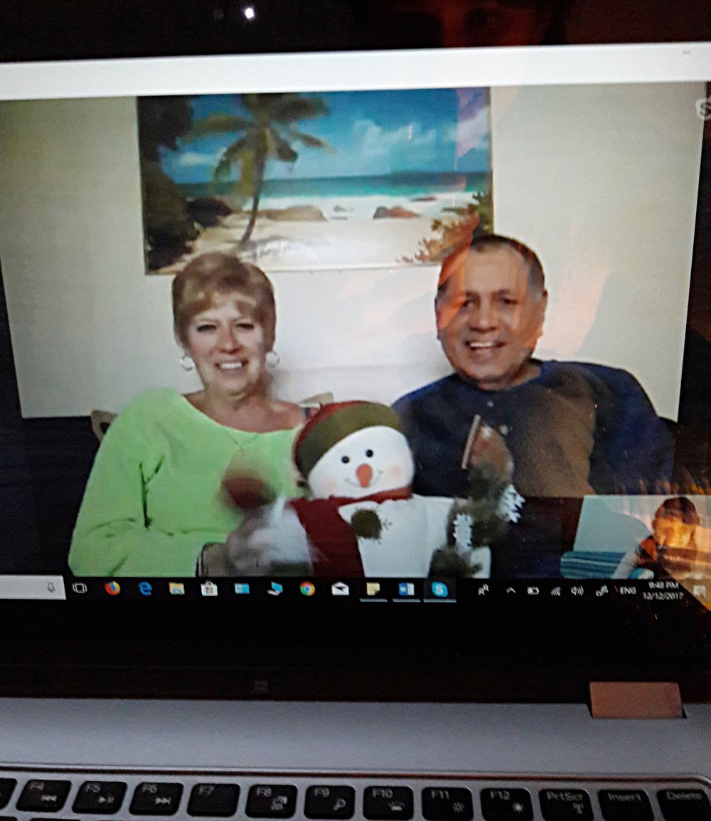 Skyping with family at Christmas will help beat the holiday-away-from-home blues.