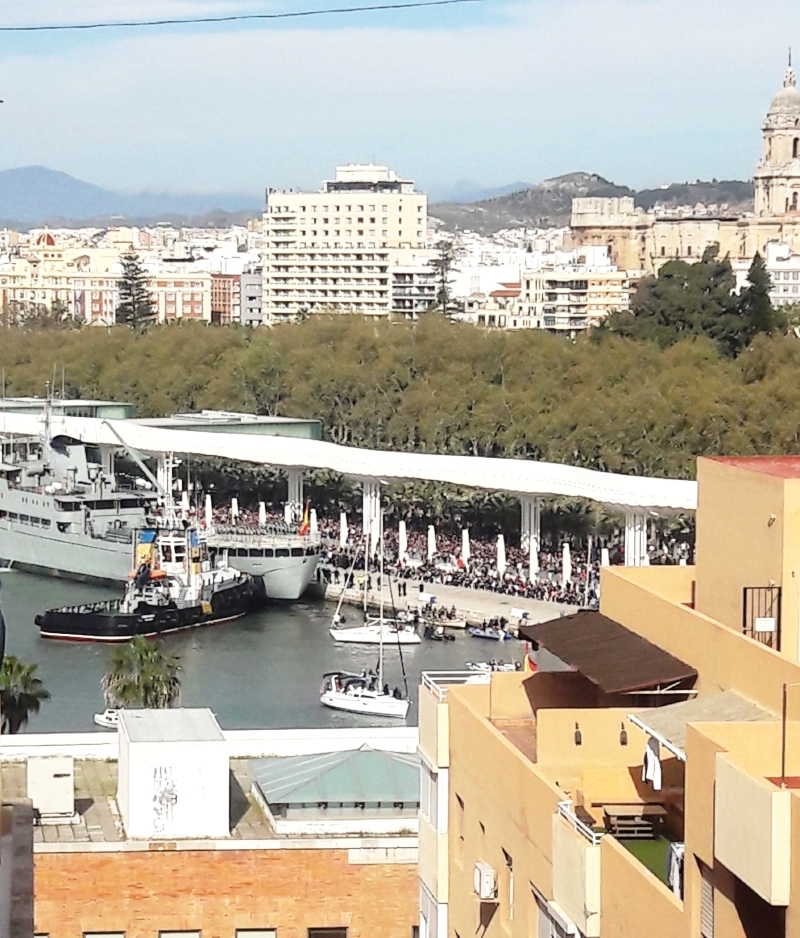 Military ship in harbor