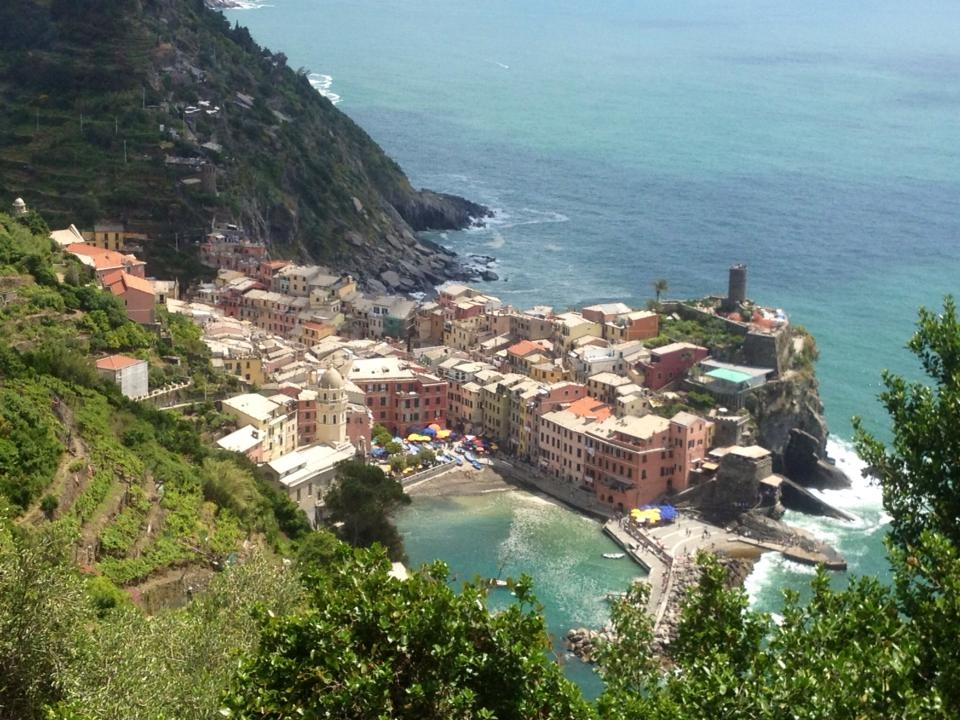 Hiking in Cinque Terre; view of Vernazza