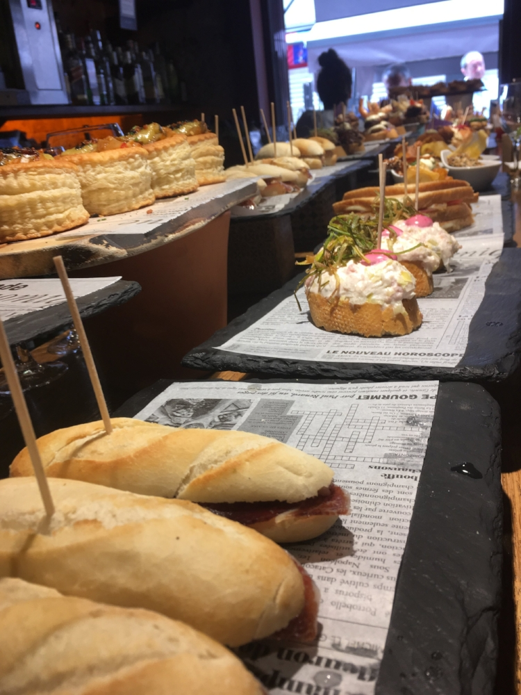 Rows of pintxos.