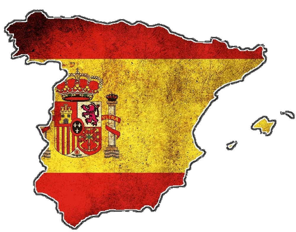 Map of Spain with overlying flag.