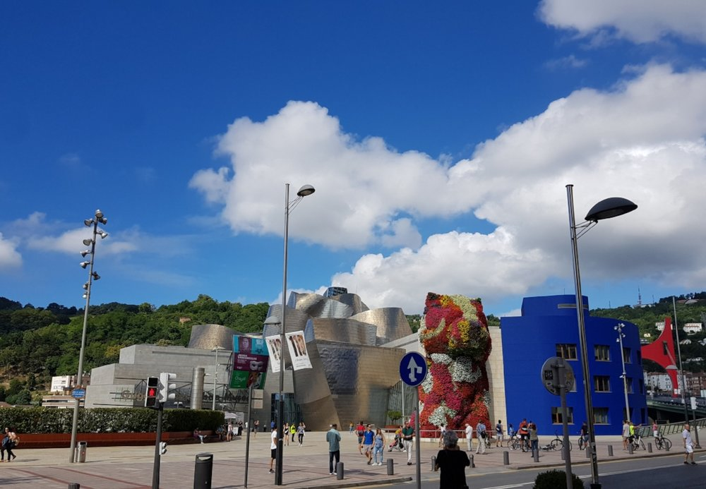 Art and architecture can be appreciated even from outside the Guggenheim museum.