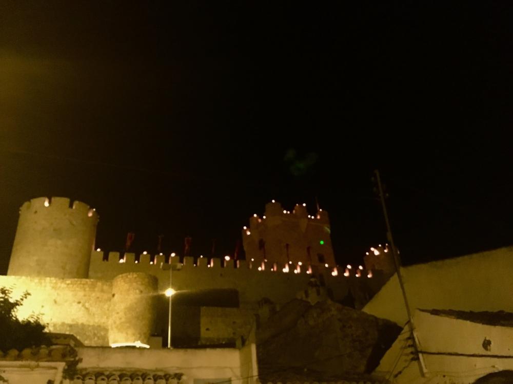 The castel in Villena at night