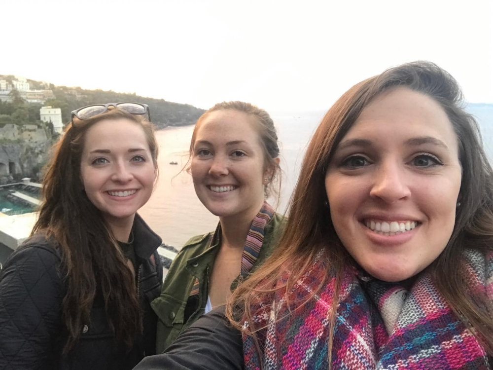 Lexa and Caroline in Italy with a  friend for the sunset.