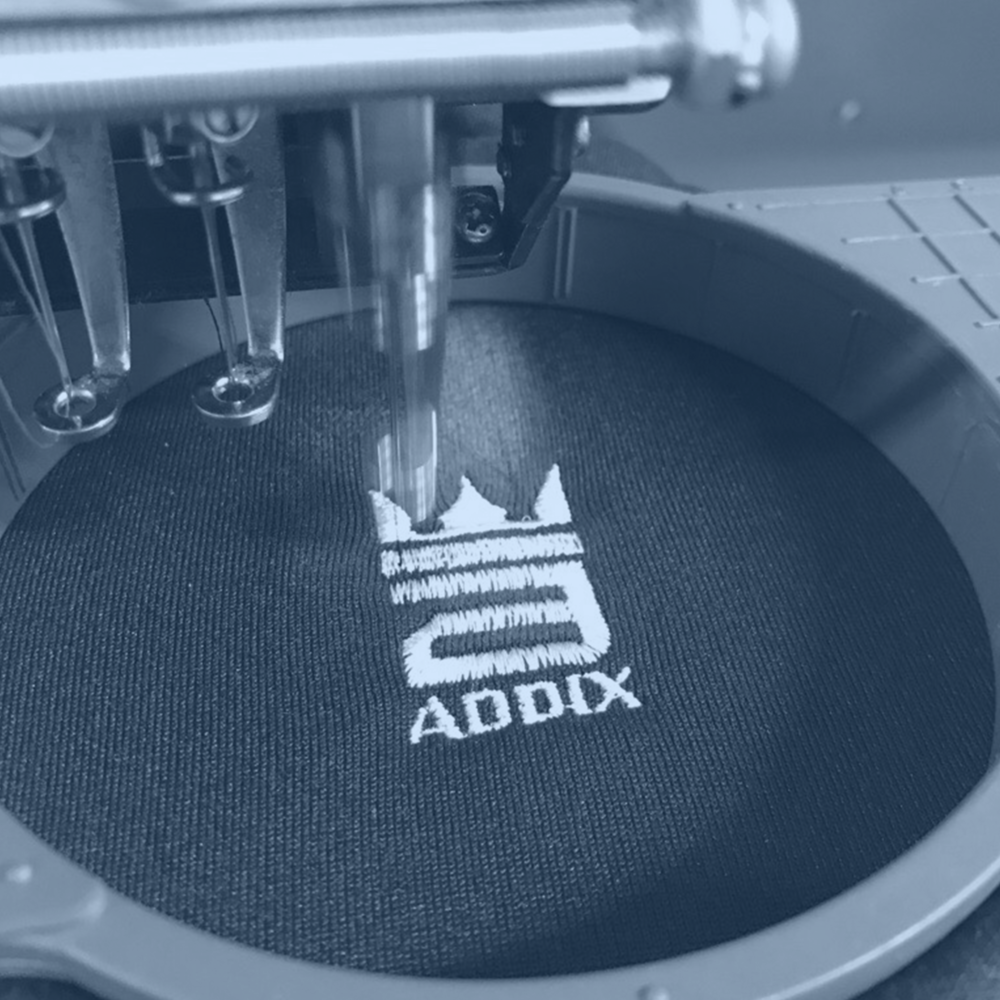ADDIX Custom Embroidery - Digitizing your design and using the most up to date equipment available, ADDIX can embroider your apparel giving you the sleek look you envision for your program, team, or organization.
