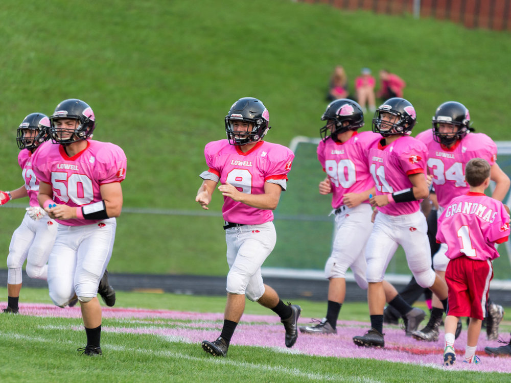 Lowell Pink Arrows Custom Football Jerseys