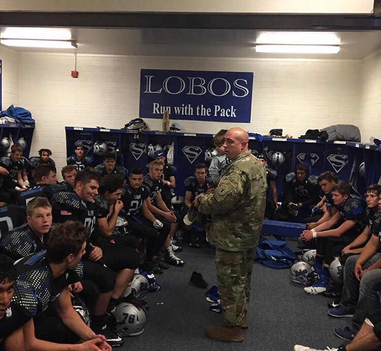 The Snowflake Lobos football team getting some inspiration from the US Army.
