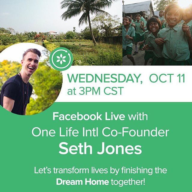 It's here, it's here! Seth Jones from One Life will be coming to a phone (or laptop) near you today on Facebook Live! It's important to us that we keep you updated on the exciting developments taking place at the Dream Home, and all of the ways you can be involved in the lives of young women we serve. Tune in, ask questions, and get excited about transforming lives with us! •  Hot tip: Set an alarm so you don't miss it! We can't wait to see you. • #onelifeintl #facebooklive #india #socialgood #dreambig #girlsrights #education