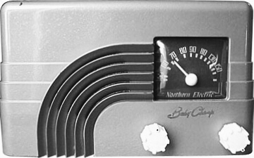 "The 5110M ""BabyChamp"" Radio released by Northern Electric in 1948."