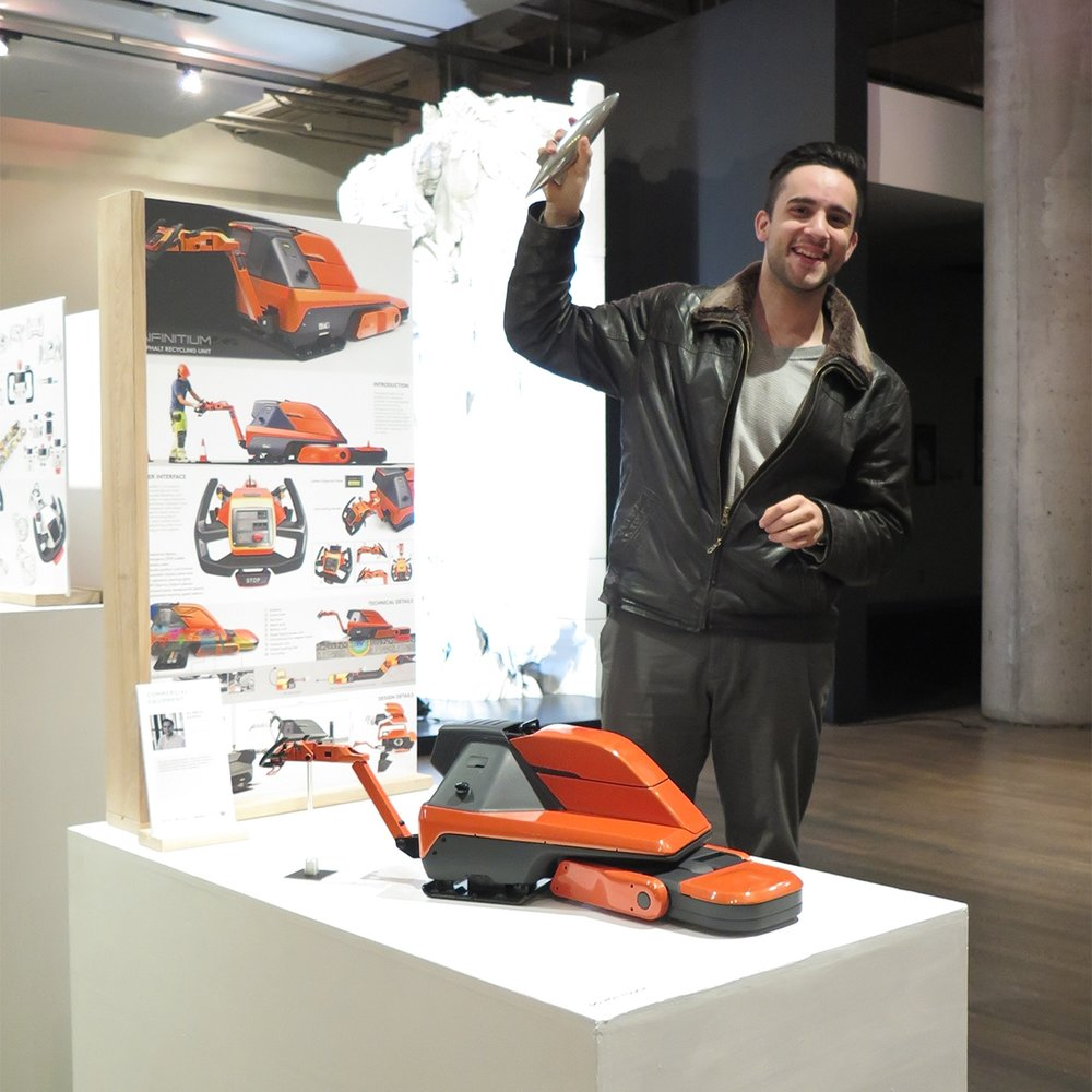 Alireza Saeedi with his winning concept on display at the Design Exchange.