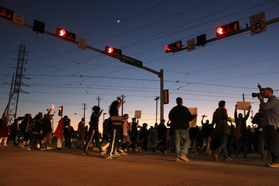 March in solidarity with Ferguson, Missouri activists after the grand jury decided not to have a trial in the case of Mike Brown's murder by Officer Darren Wilson.