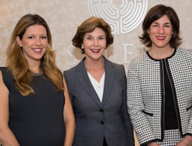 Former First Lady Laura Bush with Seleni Institute Founder and Executive Chairwoman Nitzia Logothetis (left) and Executive Director Rebecca Benghiat (right) at the Seleni Institute on September 30, 2014. Photo Credit: Fred Marcus Studio