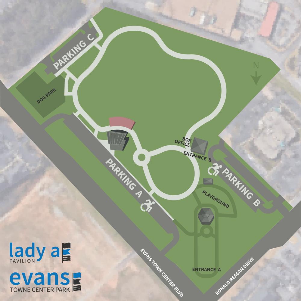 Evans Towne Center Park and Lady A Pavilion Map -