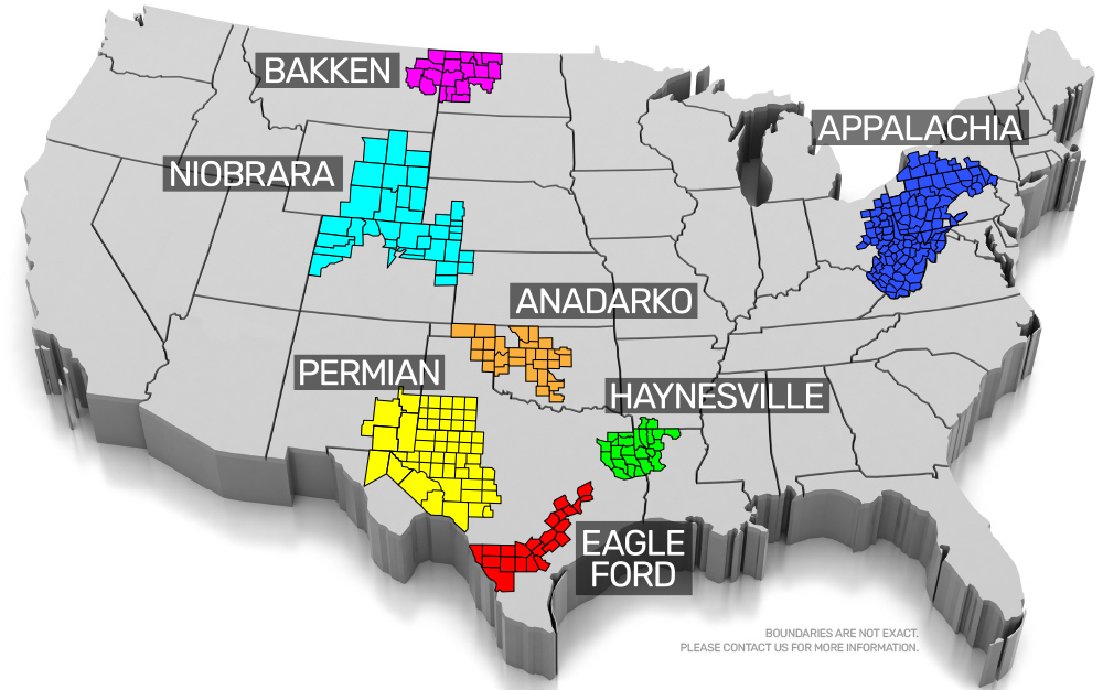 3D map showing major shale plays: Bakken, Niobrara, Anadarko, Permian, Haynesville, Eagle Ford, and Appalachia.