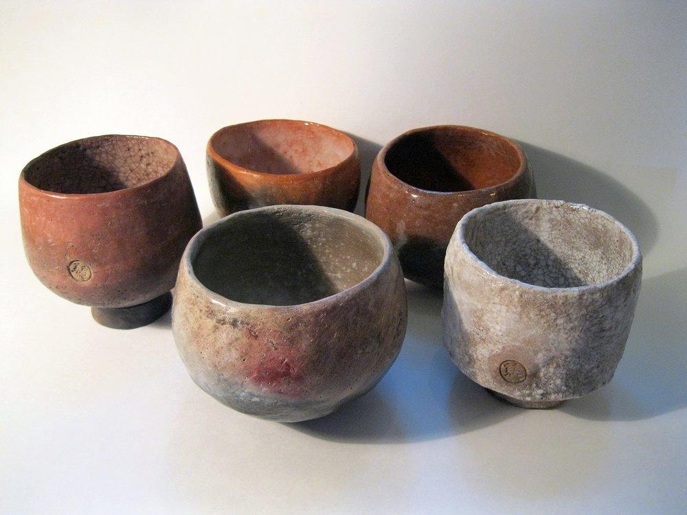 Japanese influenced raku tea bowls