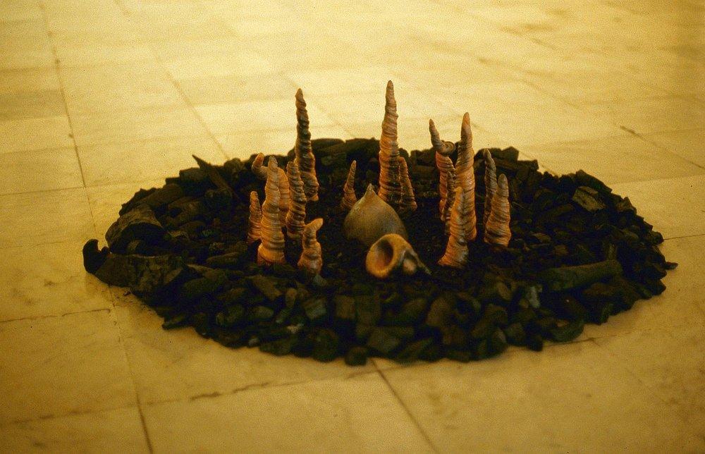 Burnt forest installation, exhibition, Havana, Cuba