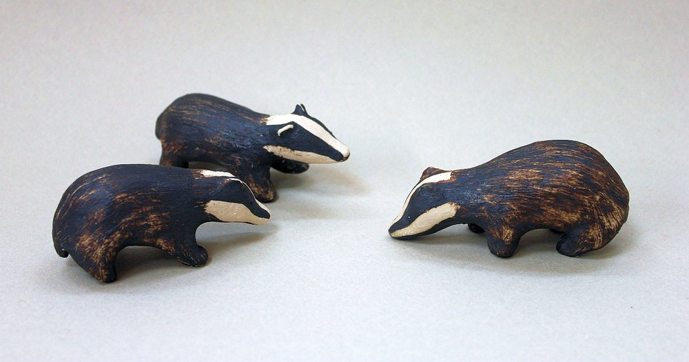 Stoneware badgers