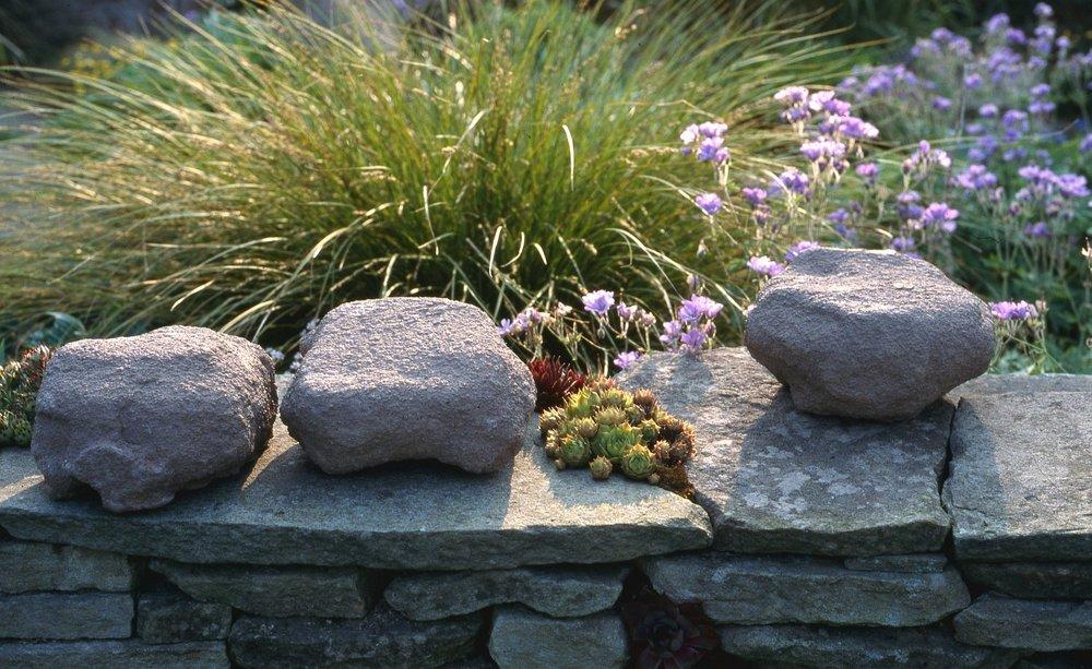 Clay boulders in garden