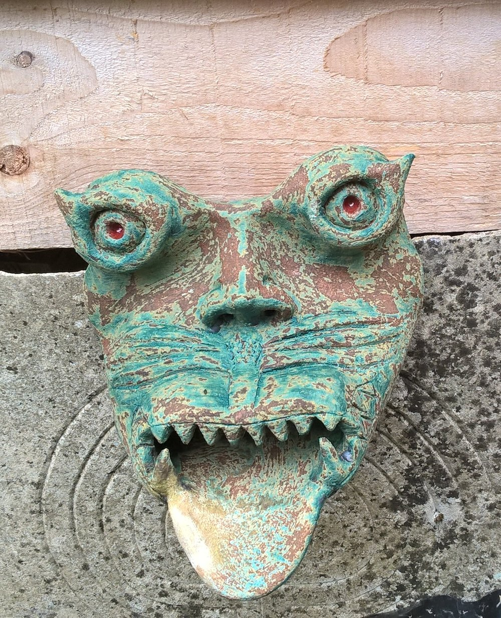 Stoneware gargoyle fountain head