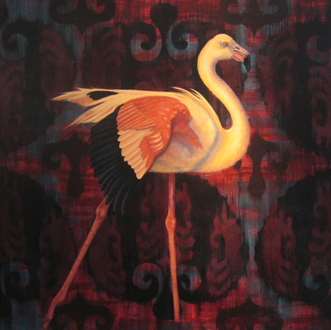 "Flamingo  oil  30"" x 30"""