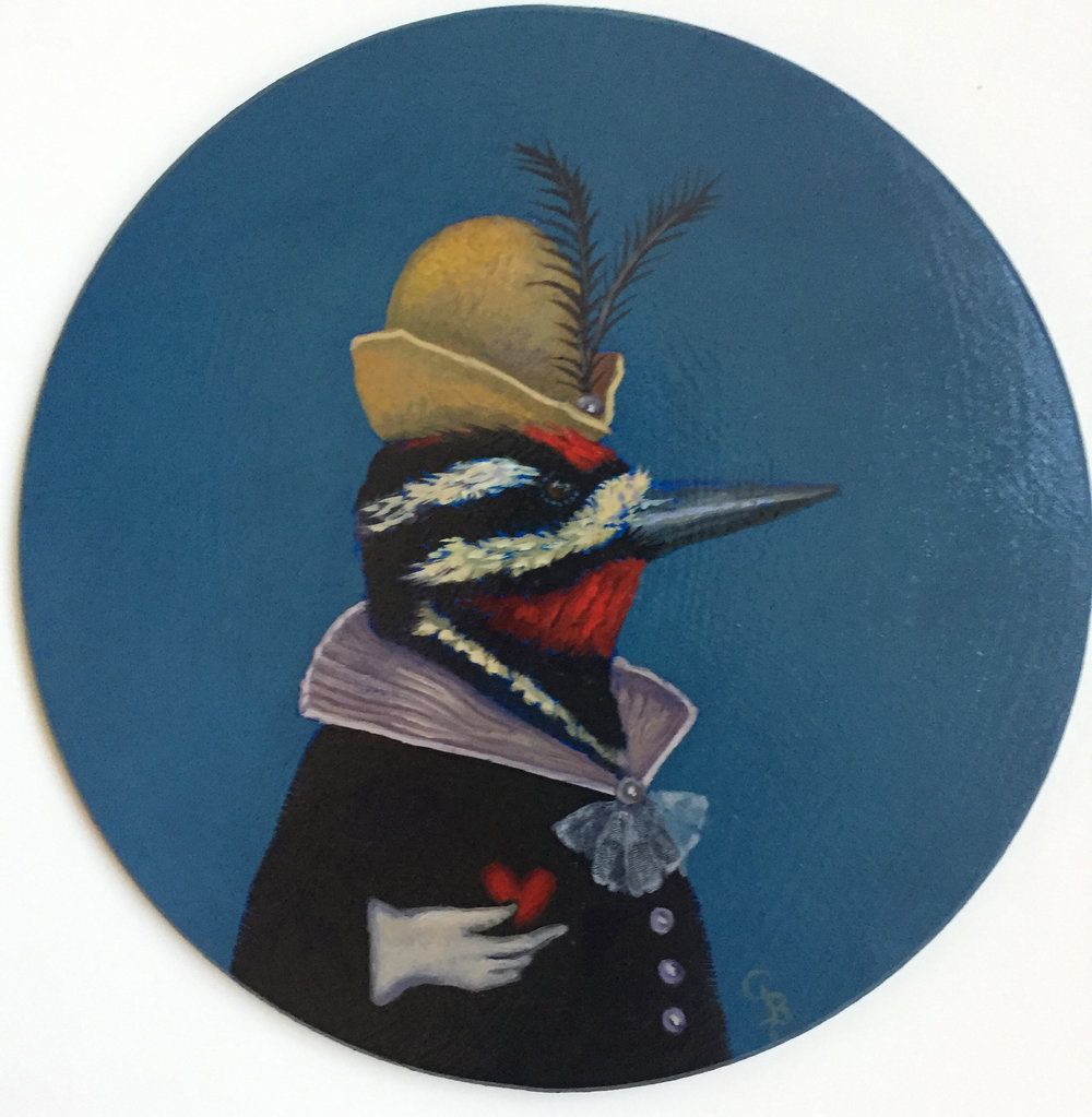 "Yellow-bellied Sapsucker  oil  9"" round      sold"