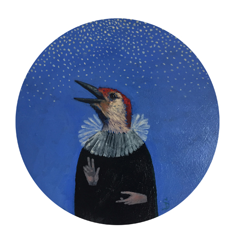 "Red-bellied/snow  oil  9"" round panel      sold"