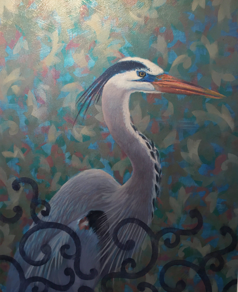 "Blue Heron - 24"" x32"", oil , framed Not Available for the Summer"