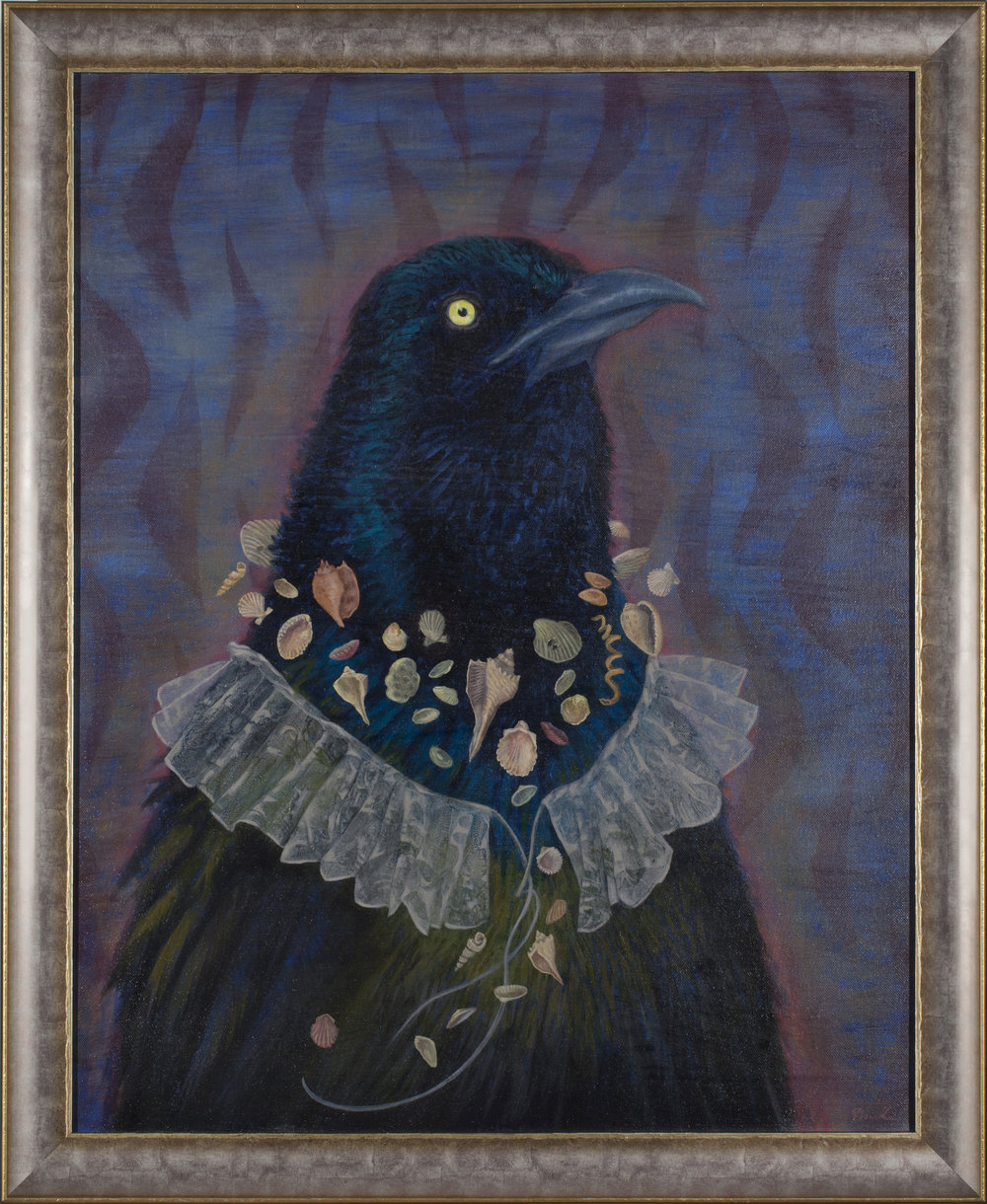 "Grackle, oil 27"" x 33"" framed"
