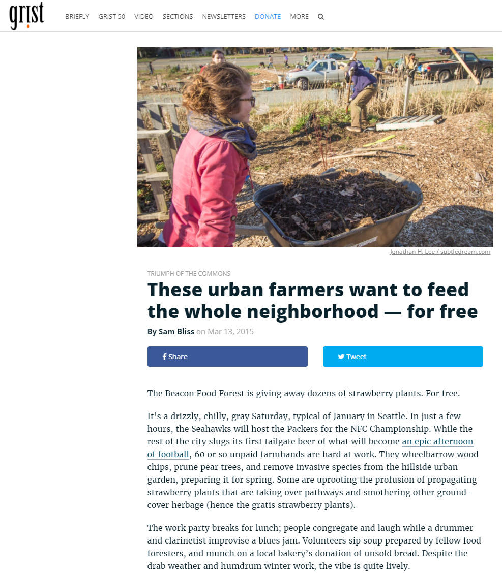 Grist.org feature on the Beacon Food Forest - Mar 2015