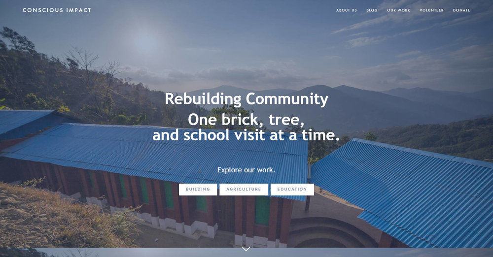 Conscious Impact 's main page - background photo features the rebuilt Siddhartha Primary School