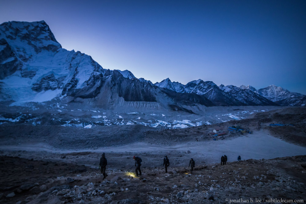 Dawn hike up to Kala Patthar (~5,600 m) from Gorakshep (~5,150 m) on 5 April, 2017.