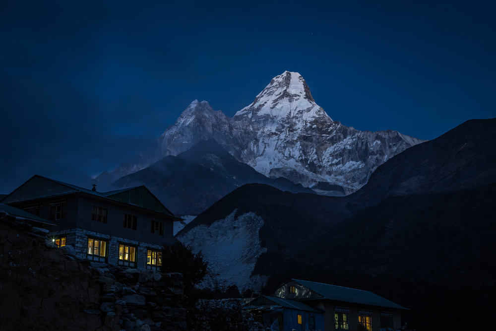 Ama Dablam (6,812 m) rising into the sky behind tea-guesthouses in Pangboche (3,980 m) on 30 March, 2017.