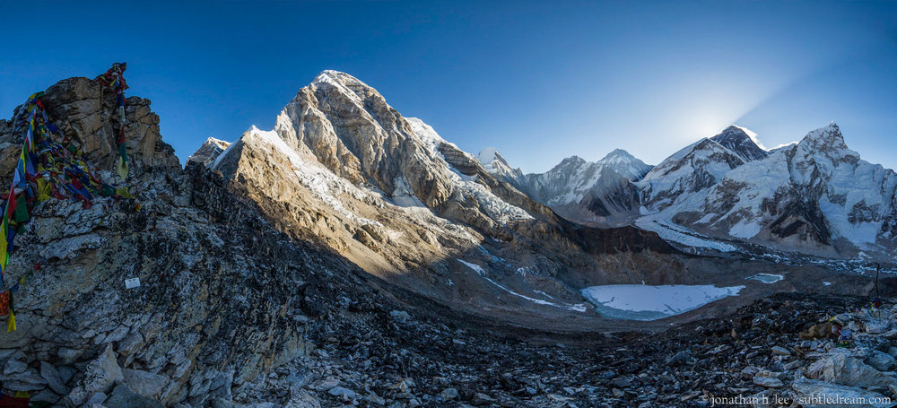 View from Kala Patthar (~5,600 m) a minute before the sun peeks out behind Everest (dark tall peak on the right) iteself. 5 April, 2017.
