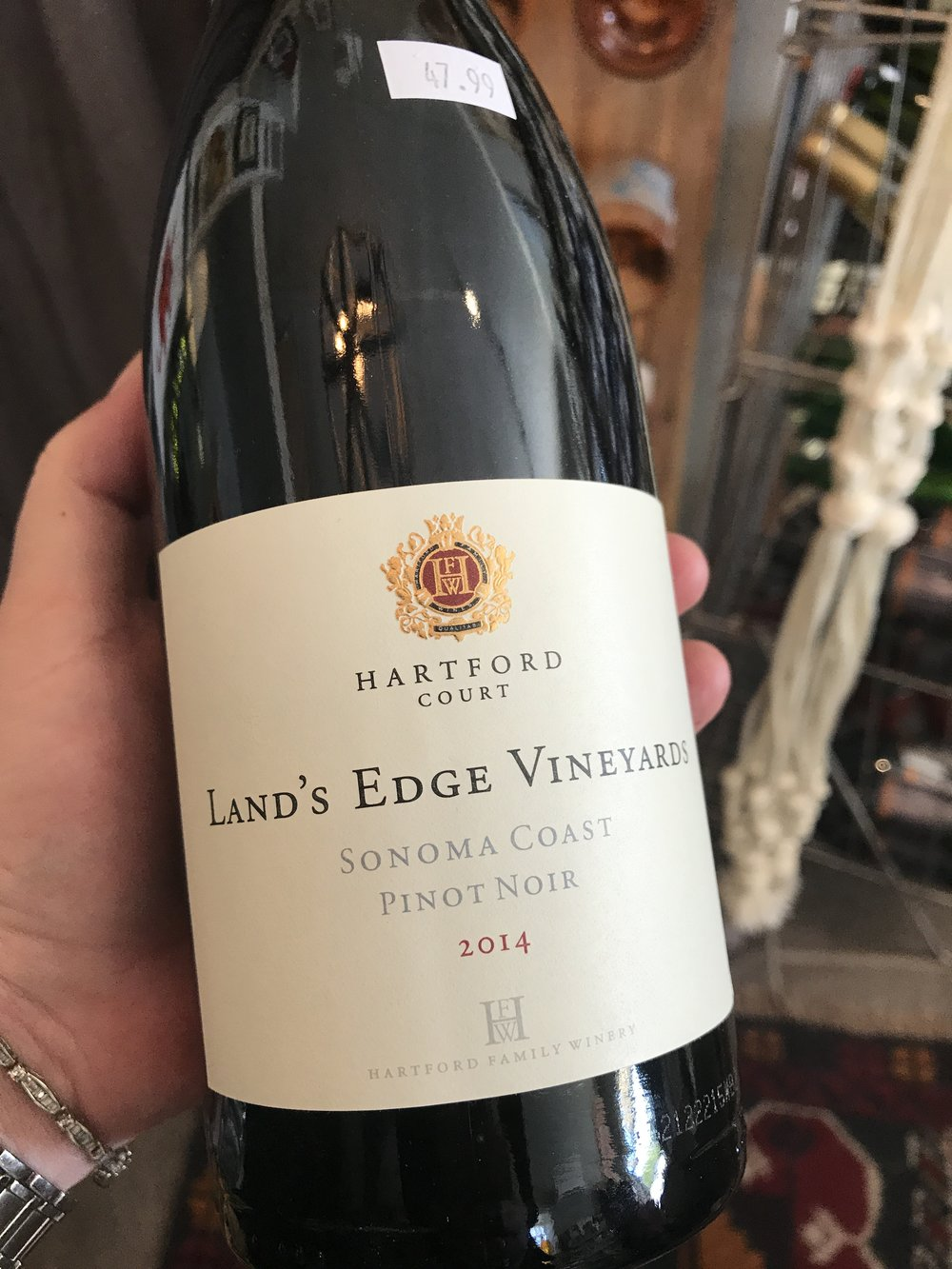 "2014 Hartford Court ""Land's Edge"", Sonoma Coast:   ""The only 2014 tasted was the early-bottled 2014 Pinot Noir Land's Edge Vineyards, which comes from a vineyard four miles from the Pacific Ocean. Aged in 32% new French oak, the wine displays raspberry and blueberry fruit, damp earth, fresh porcini mushrooms and plenty of minerality. This is a juicy, tightly knit, but concentrated and promising Pinot Noir that has that forward fruit of this vintage well displayed."" - 92 points Robert Parker, The Wine Advocate, October 2015. 47.99"