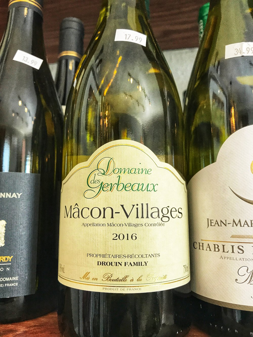 2016 Domaine Gerbeaux Mâcon-Villages $17.99 - Only about 200 cases (all biodynamically grown) made from young vines. Clean, fresh and nervy Chardonnay. Domaine des Gerbeaux is a small estate created in 1896 by Jean-Michel Drouin's grandfather Jacques Charvet, thus the high end cuvee in his honor. Domaine des Gerbeaux was cre- ated by his son Xavier, the 5th generation of winemakers with- in the family. An estate of 17 acres located in the village of Solutre, dependent of the commune of Fuisse and the small village of Pouilly. The average age of the vines is between 35 and 45 years old with parcels as old as 90 years.