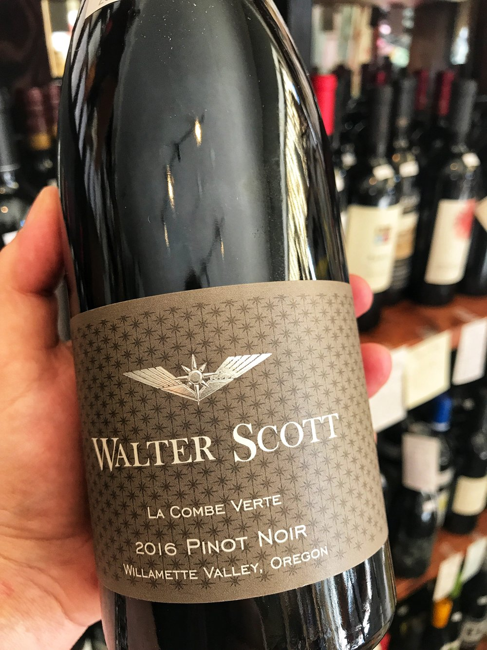 "2016 Walter Scott ""La Combe Verte"" Pinot Noir, Willamette Valley $26.99 - For the 2016 vintage, La Combe Verte is composed primarily from Eola-Amity Hills sources, with barrels of Vojtilla and Freedom Hill Vineyards added in order to thoughtfully paint our unique picture of the Willamette Valley. This Pinot Noir is 15% whole cluster, fermented with ambient yeast, and aged in barrel for 10 months with 30% new oak barrels. The resulting wine is a serious and beautiful example of the 2016 vintage, layered with power and structure giving this wine immediate appeal, alongside the ability to be tucked into your cellar for several years. Layers of red cherries, plums & spicy earth fill the nose. The fruit, tannins and acid all come together to make the wine our version of the complete package."