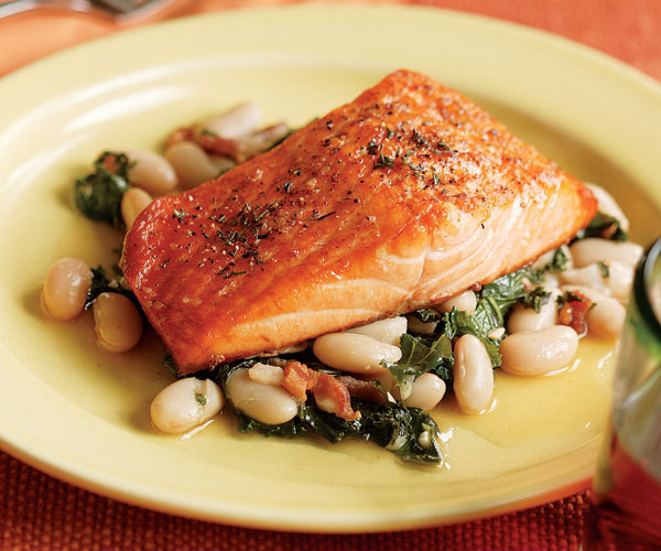 2016 Cuvee Jean Paul Blanc, Côtes de Gascogne (2 for $13) with Broiled Salmon, Bacon, White Beans & Kale