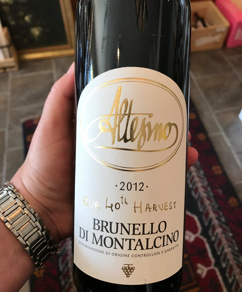 2012 Altesino Brunello di Montalcino, Tuscany - 96 points Wine Spectator  $57.99  Cherry, leather and iron notes mark this suave, elegant red. A bit reticent now, but the fruit is fresh and long on the finish. The dense tannins leave a mouthcoating impression, but this opens up beautifully over a few hours. Best from 2021 through 2035.   Altesino embodies tradition and history, and at the same time perceptive innovation. Where international renown for Brunello di Montalcino has nudged many winemakers towards conservatism, Altesino has always blazed new wine trails. Founded in 1972 by Milanese entrepreneur Giulio Consonno, in 1975 the winery was the first in Brunello to introduce the concept of single-vineyard crus with its famous Montosoli bottling. The winery was also the first to experiment with French barrique in 1979, yielding wines with more fruit and complexity – a critical turning point in Brunello's history.